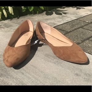 NEW NYCO Beige microfiber suede ballet flats sz8